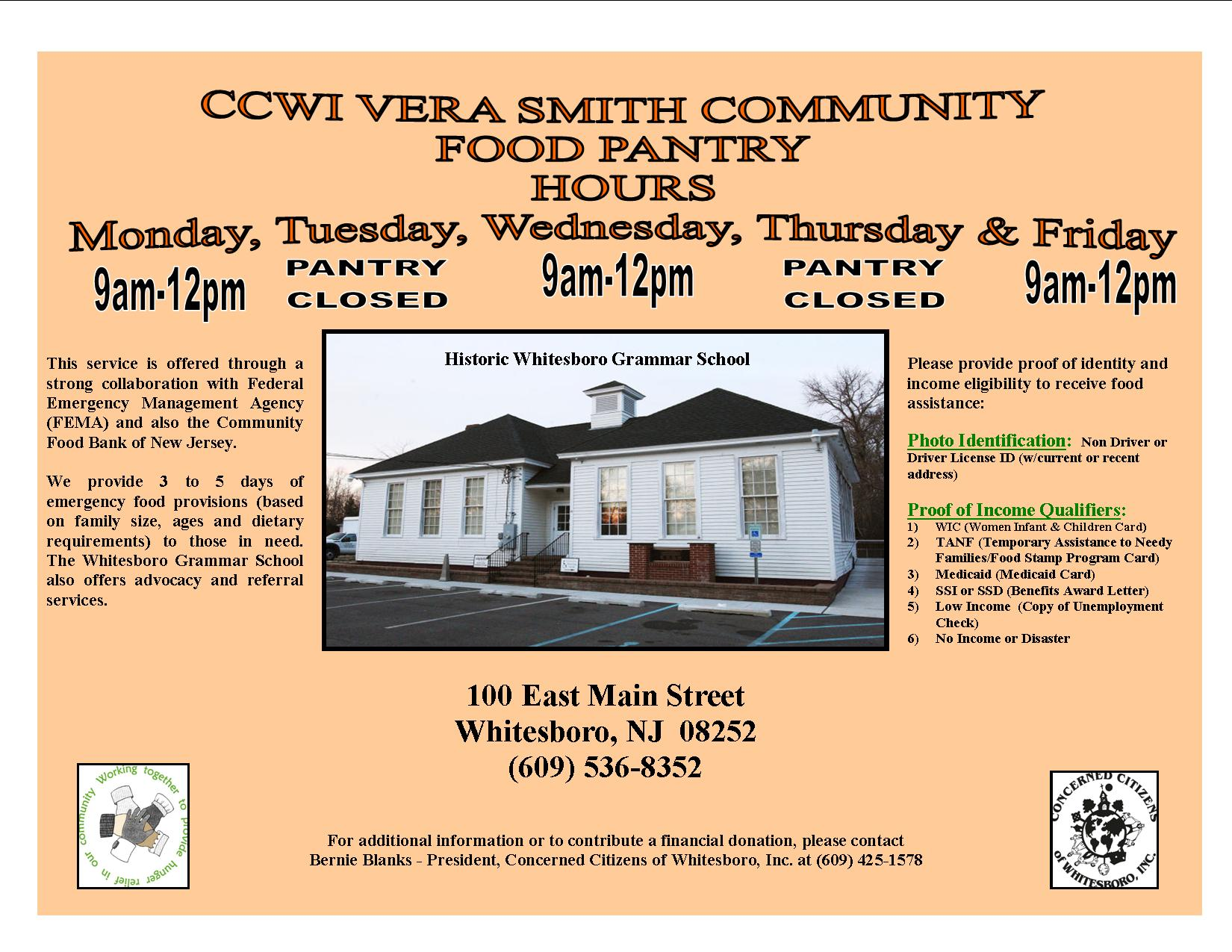 CCWI Food Pantry Information