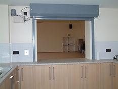 Fire shutter at serving hatch