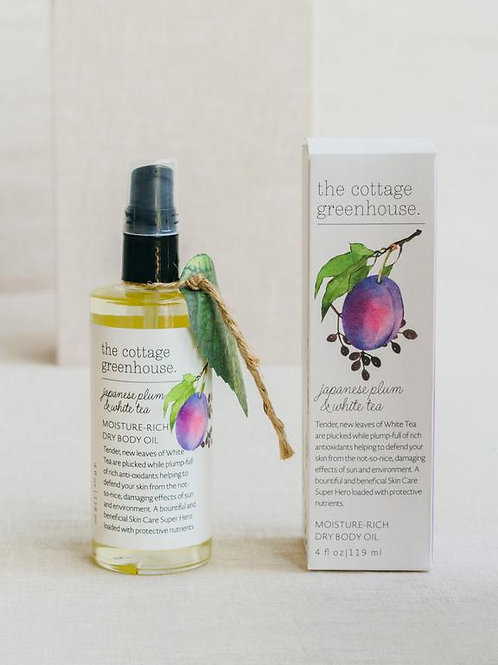 Cottage Greenhouse JAPANESE PLUM & WHITE TEA Dry Body Oil