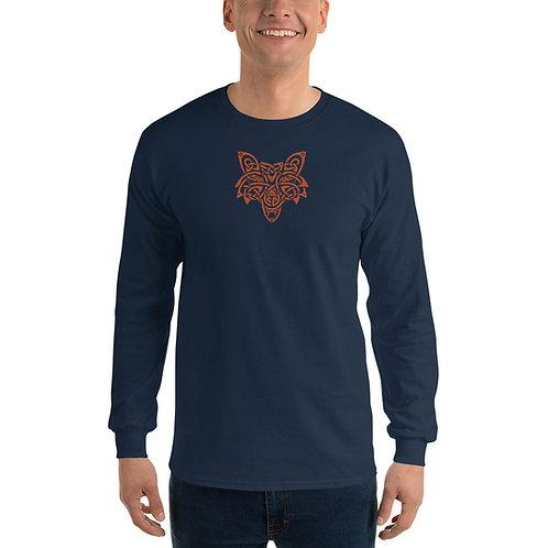 Unisex Orange Wolf Long Sleeve Tshirt