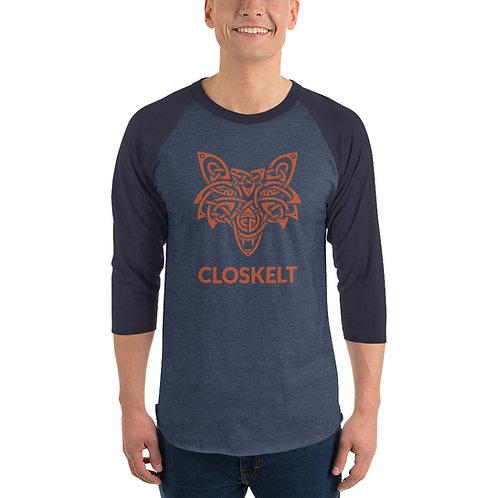 Unisex Orange Wolf 3/4 Sleeve T-shirt
