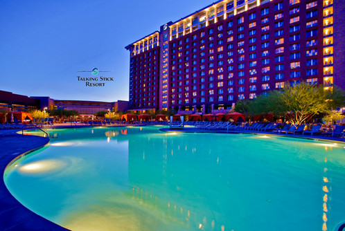 Pool and Hotel Tower at Night.jp
