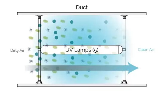 In duct UV disinfection