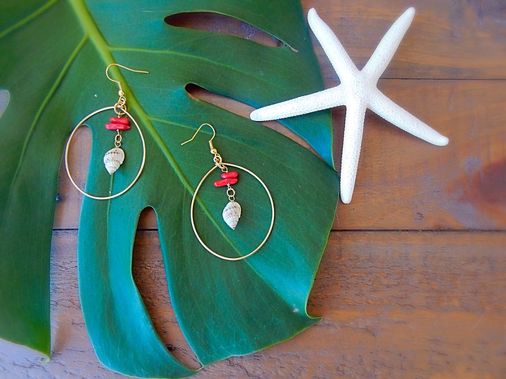 Sea Shell & Red Coral Earrings