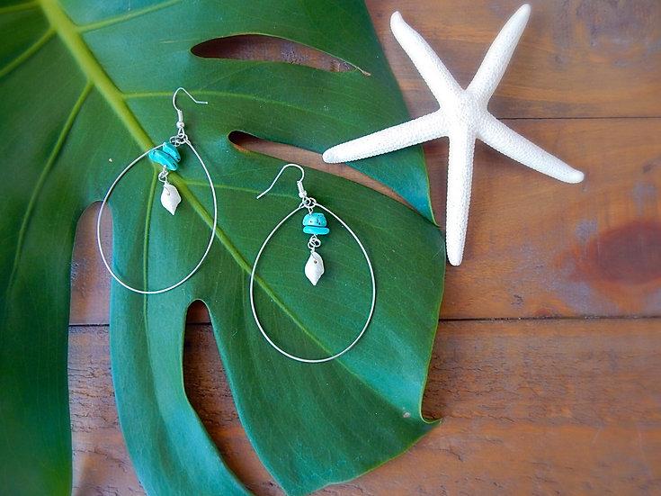 Sea Shell & Turquoise Stones Earrings