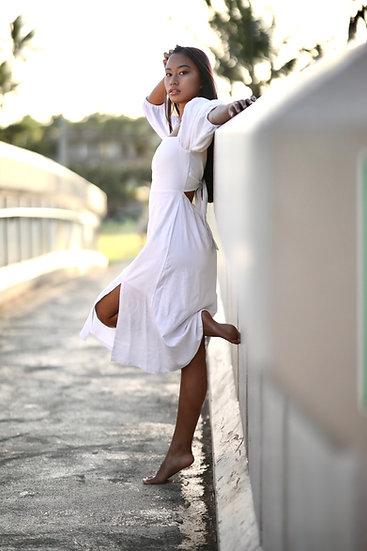 "Tropicious"" Lea Puff Sleeve Dress in Linen"