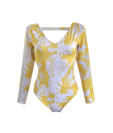 "Tropicious"" Piddly Long sleeve One piece in Mango"