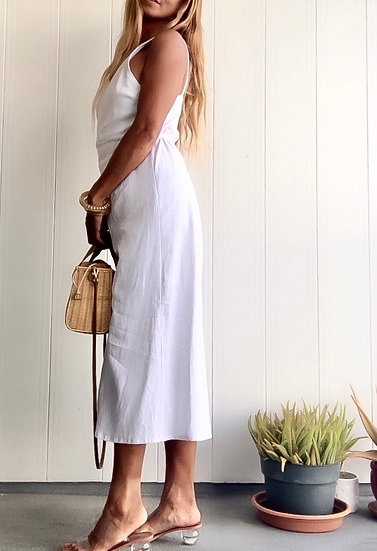 "Tropicious"" Linen Siena Wrap Dress in Coco White"
