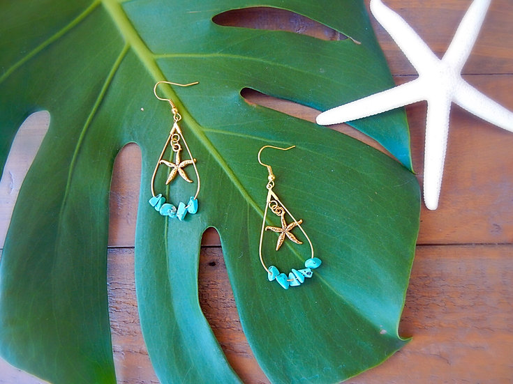 Ster Fish Carm & Turquoise Stones Earrings
