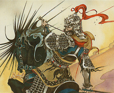 Xiahou Dun, the One-Eyed, by Junko Taguchi, owned by Wizards of the Coast © All Rights Reserved.