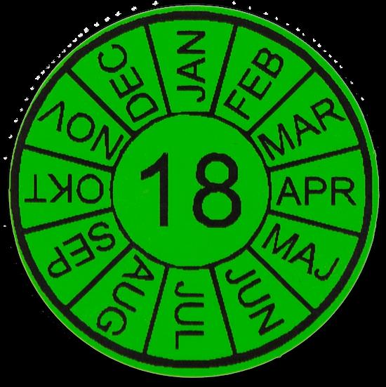 Godkendelsesmærke - Inspektionsmærke - Valgfri tekst - Valgfri logo - Rød - Gul - Grøn - Blå - Orange - Hvid