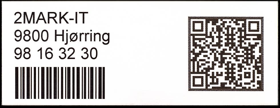 TAG Mærke - TAG skilt - Plastik - 2plex- Resopal - Opmærkning - Valgfri tekst- Logo - Stregkode - QR kode
