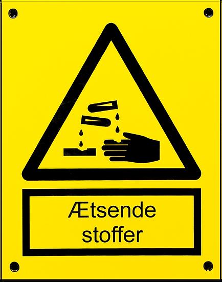 Advarselsskilt - Ætsende stoffer - Plastikskilt - 2Plex / Resopal