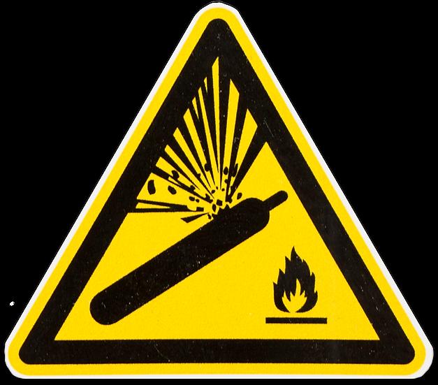 Advarselsskilt - Trykflasker fjernes ved brand - Skilt - Mærke - Vinyl
