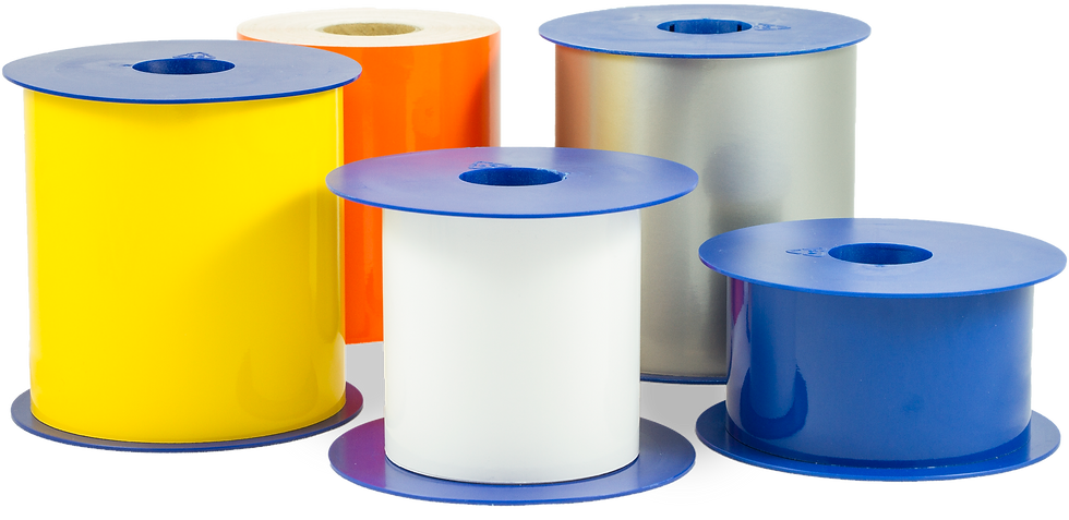 Vinyl labels - Vinyl ruller - Etiketter - Vinyl folie - 50mm - 75mm - 100mm - Hvid - Gul - Grøn - Blå - Rød