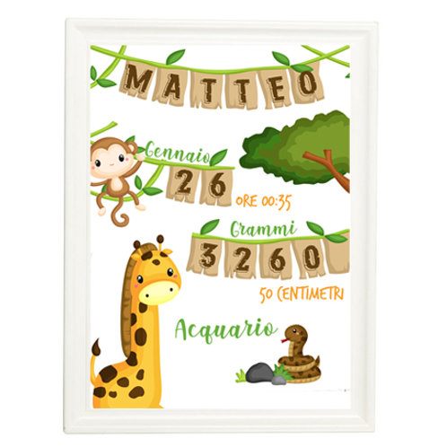 QUADRO NASCITA UNISEX JUNGLE