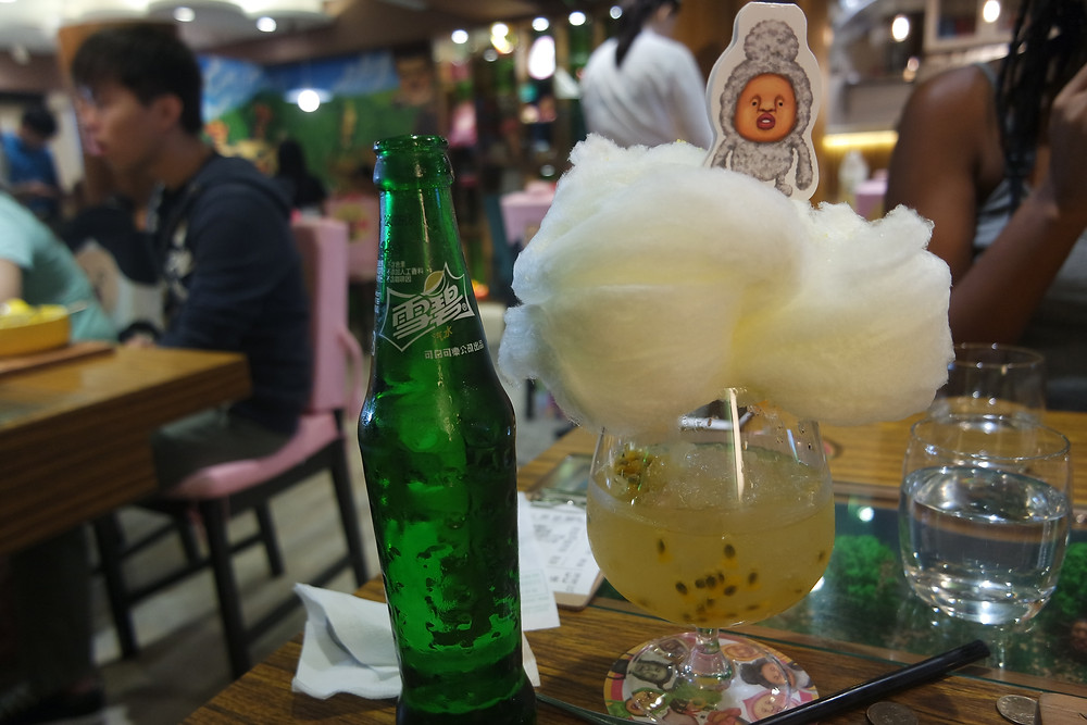 An amazing cocktail with a cloud of candy floss at Kobitos
