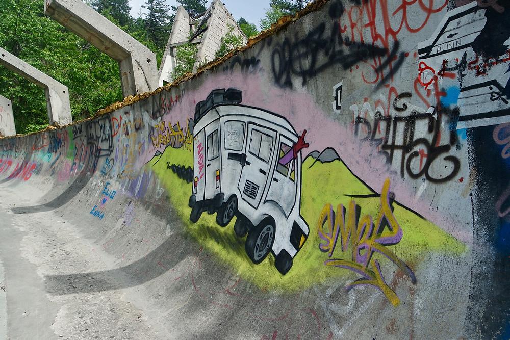 Abandoned Bobsleigh track graffiti - Sarajevo