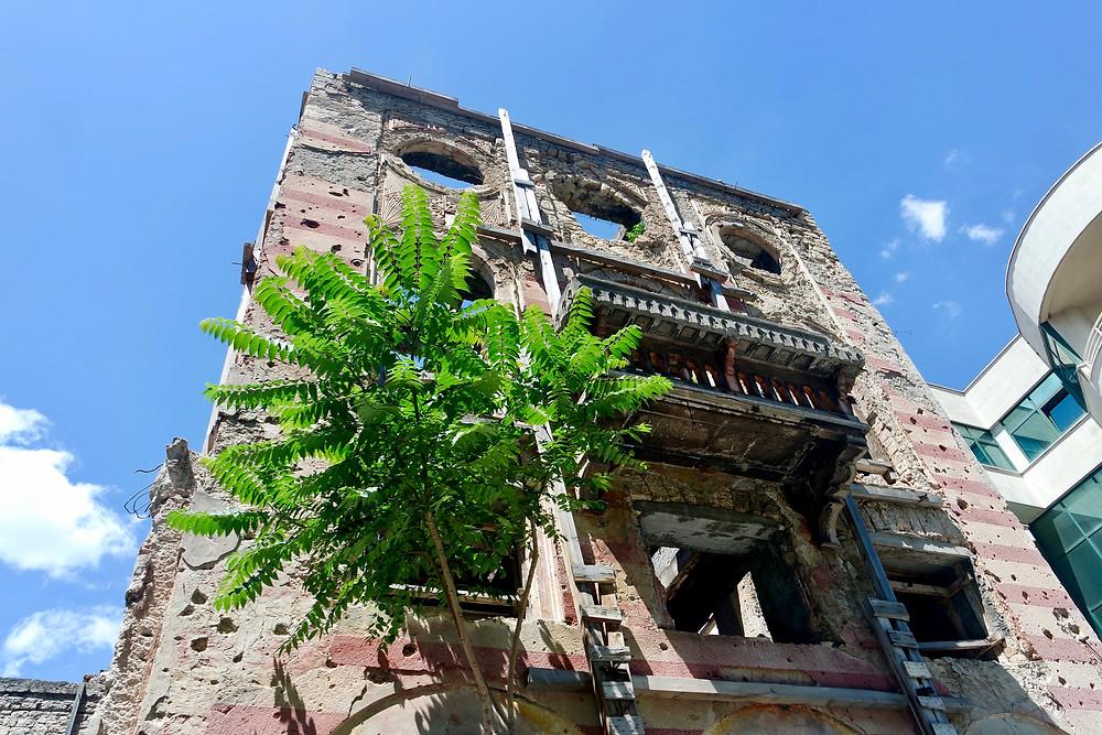 A derelict building in Mostar