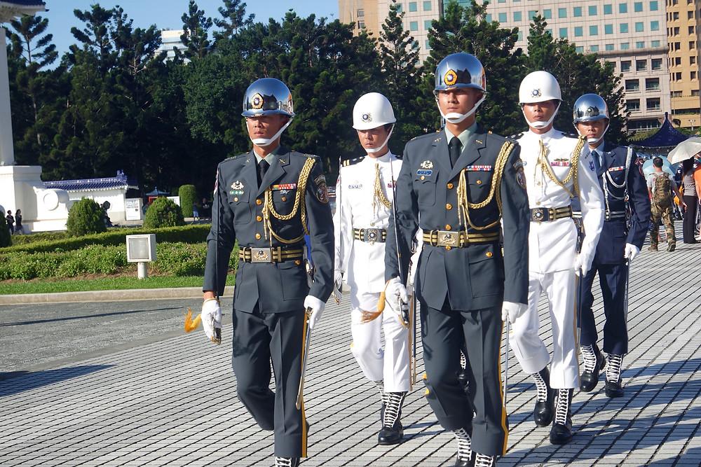 Marching soldiers at parade at Liberty Square - Taipei Taiwan