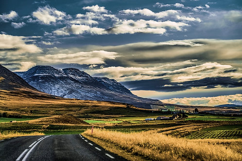 Iceland, South Iceland, landscape, sunset, roads, clouds, mountains, color, limited edition, fine art, photography