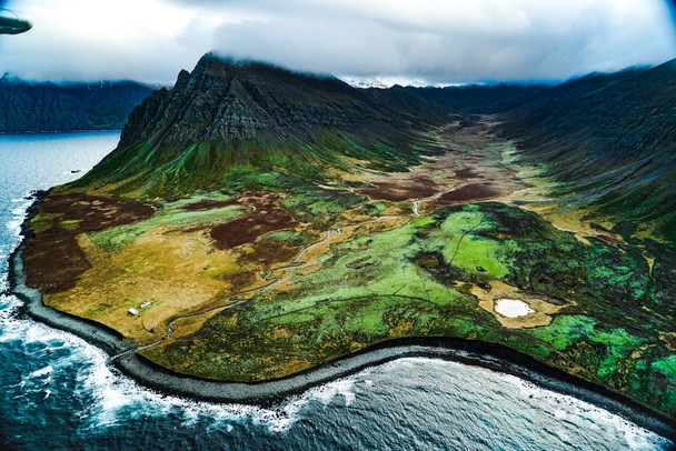 North West Iceland Aerial Shot Fjord Coastline
