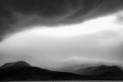 iceland, south iceland, landscape, mountains, clouds, black and white, limited edition, fine art