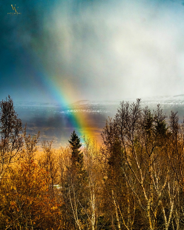 Rainbow Over Looking Akureyri Iceland