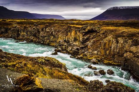 Godafoss Waterfall east of Akureyri