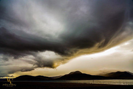 Angry stormy clouds looking back at Reykjavik Iceland