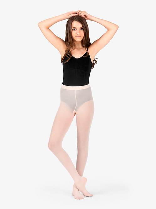 Girls Footed Tights with Smooth Self-Knit Waistband