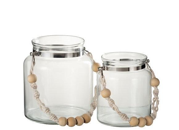 Photophore en verre anse perles