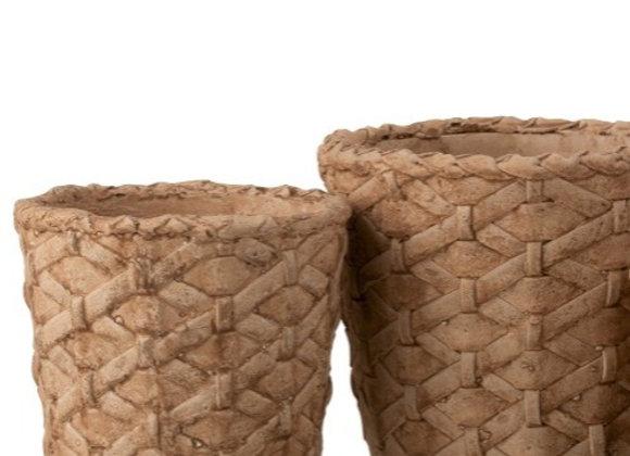 Cache pot en ciment naturel