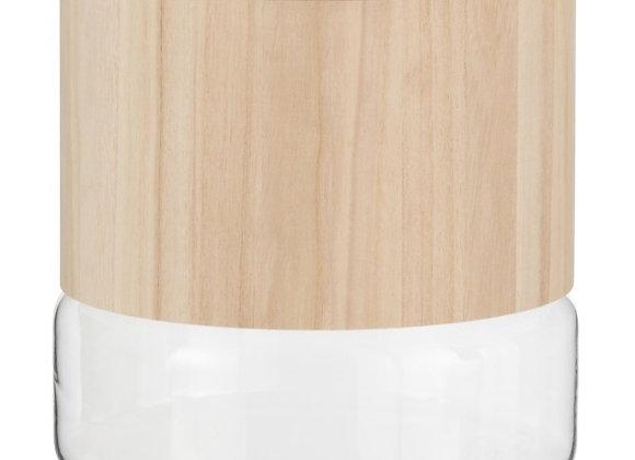 Vase verre et bois clair