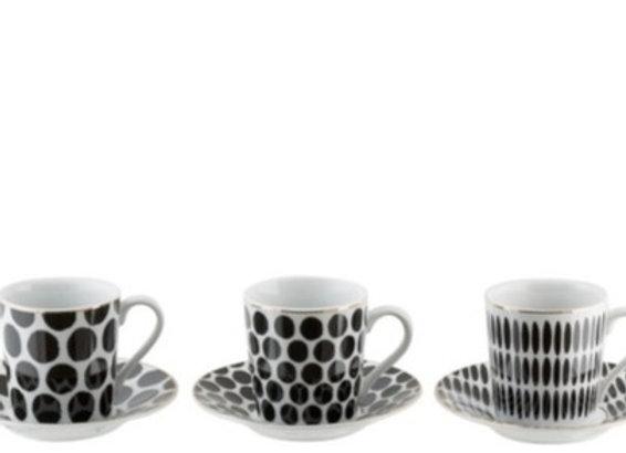 Coffret 6 tasses + sous tasses