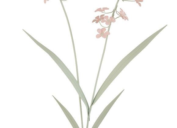 Fleur en métal sur pied en bois