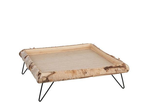 Plateau en bois sur pied