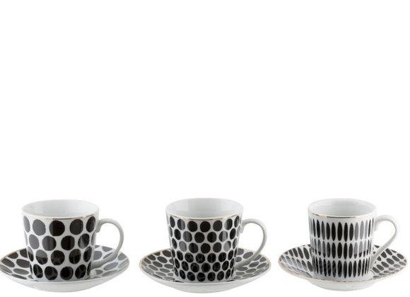 Coffret 6 tasses à thé + 6 sous tasses