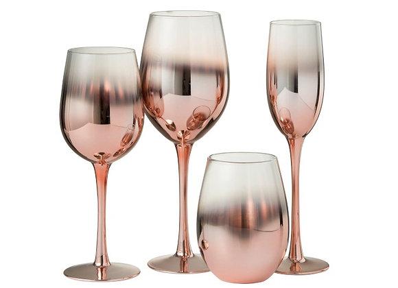 Ensemble 6 verres dégradé cuivré/transparent
