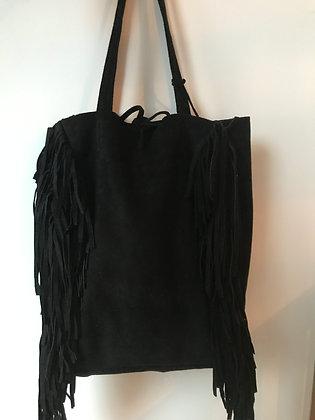 Black Fringes Suede Leather Tote Bag - Jijou Capri