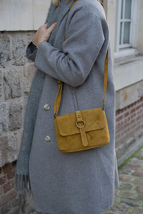 Mustard Milly Suede Leather Crossbody Bag - Jijou Capri