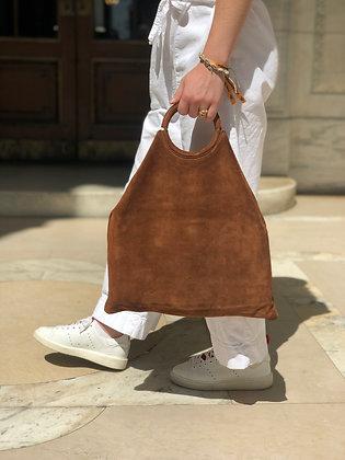Montreal Medio Suede Leather Tote Bag Brown 37 - Jijou Capri