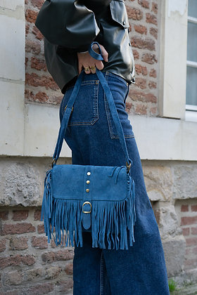 Joy Blue Suede Leather Crossbody Bag - Jijou Capri