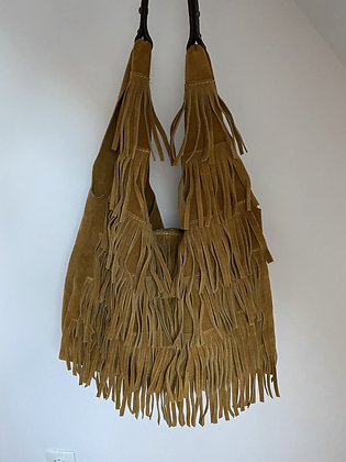 Mustard Anabelle Fringes Suede Leather Tote bag - Jijou Capri
