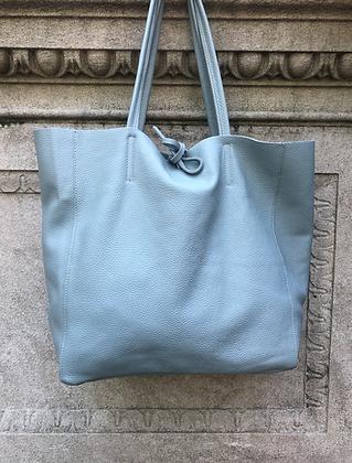 Baby Blue Maxi Leather Tote Bag - Jijou Capri
