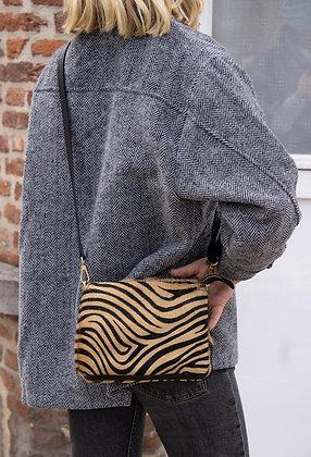 Elvira Pony Brown Zebra Leather Crossbody bag - Jijou Capri