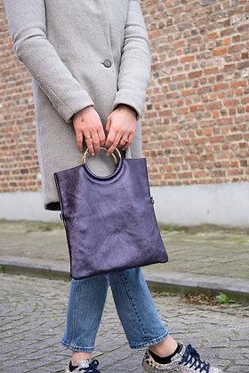 Twiggy Midnight Blue Metallic Leather Handbag - Jijou Capri