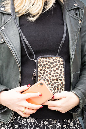 Cellphone Mini Cheetah Pony Leather Wallet - Jijou Capri