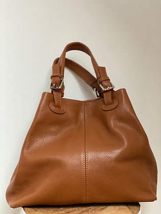 Quatro side camel Leather Handbag - Jijou Capri