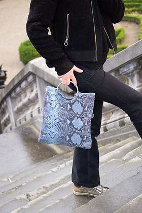 Twiggy Blue Snake Leather Handbag - Jijou Capri